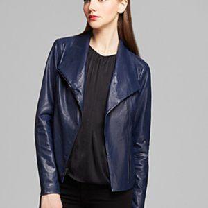 Vince Lambskin Navy Blue Leather Scuba Jacket